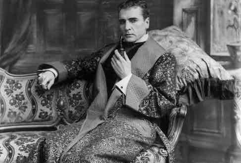 """William Gillette played Sherlock in a silent film in 1916, thought to be lost until it was rediscovered in 2014. Arthur Conan Doyle often wrote about the character """"lounging upon the sofa in a purple dressing-gown""""."""