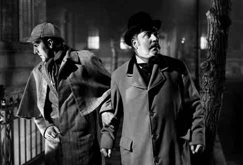 Basil Rathbone in the 1939 series with Nigel Bruce as Dr. Watson.
