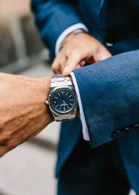 Andreas Weinas wears a jacket with a four-button cuff paired with an Audemars Piguet Royal Oak wristwatch. Photograph by Jamie Ferguson.