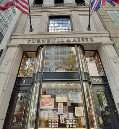 Located just off Park Avenue, Turnbull & Asser's storefront sports both the American and British flag.