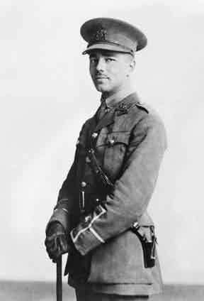 Wilfred Edward Salter Owen, photographed here standing proud in his uniform, he would later be killed in action on 4th November 1918.