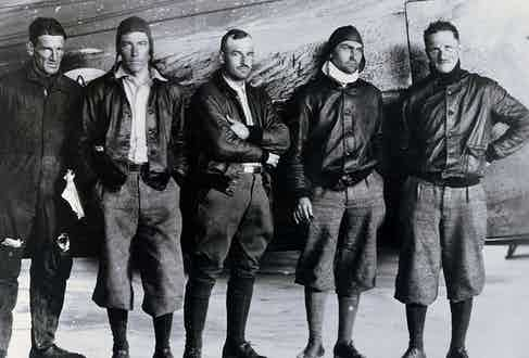 The crew of the Fokker C-2 'Question Mark' wearing A1 jackets.