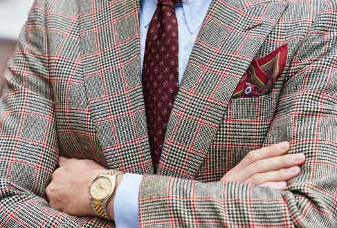 The pattern features Edward Sexton's signature shoulder and dramatic lapels. Photograph by James Munro.