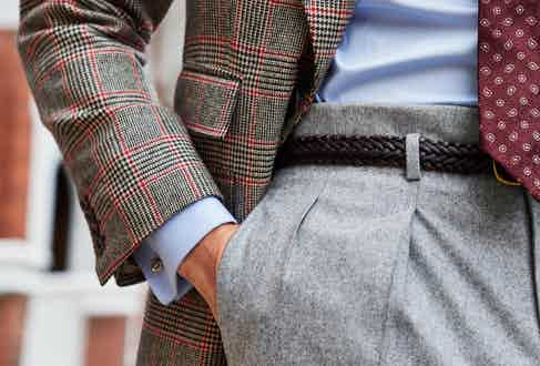 The sports jacket has four buttons at the cuff and flap pockets. Photograph by James Munro.