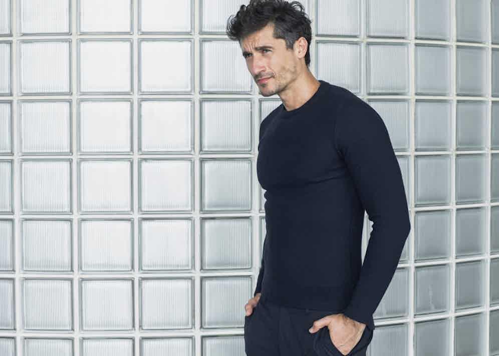 KA/NOA's raised knit sweater is made from navy Merino.