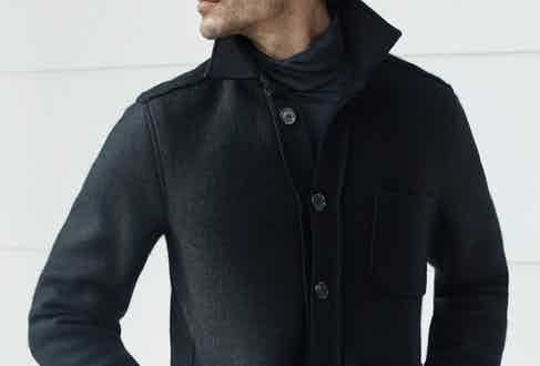 This boiled wool jacket is a snug cover up for cold weather.
