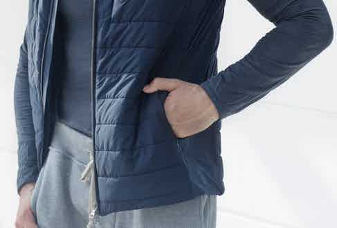 This dark blue jacket is padded for extra warmth.