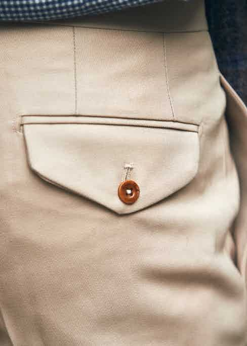 The detail of Salvatore Piccolo's Anthony trousers. Photograph by James Munro.