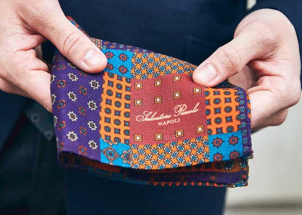 Salvatore Piccolo also creates vibrant pocket squares. Photograph by James Munro.