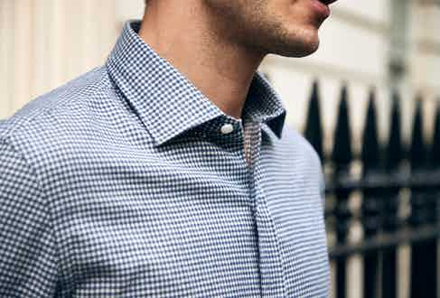 Salvatore Piccolo's blue and white check shirt. Photograph by James Munro.