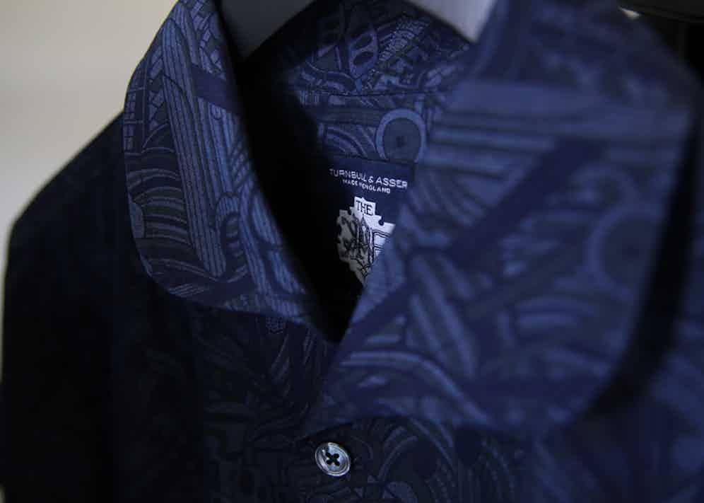 The shirts feature a special Turnbull & Asser x Mo Coppoletta x The Rake label.