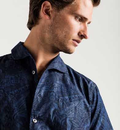 Mo Coppoletta London industrial print one piece collar short-sleeve denim shirt, Turnbull & Asser for The Rake.