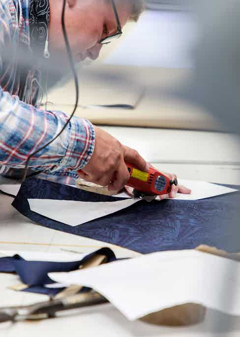 Cutting the patterns for Turnbull & Asser's shirts.