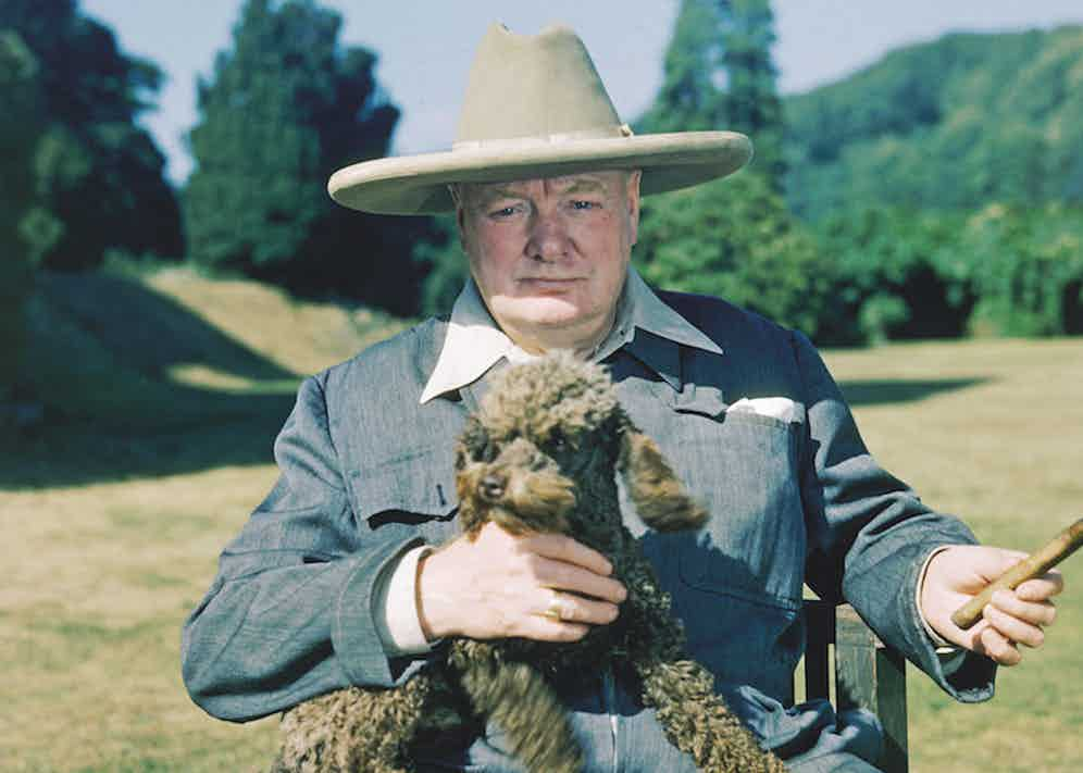 Churchill in 1950 in a Turnbull & Asser siren suit with his poodle, Rufus, at his country home of Chartwell, in Kent, where he lived for more than 40 years.