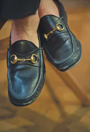 """Classic Gucci loafers in black leather were Daisy's first serious sartorial investment. """"I saved up for months and months to buy these. I'd go into the shop and try them on every few weeks — the sales people must have hated me,"""" she laughs."""