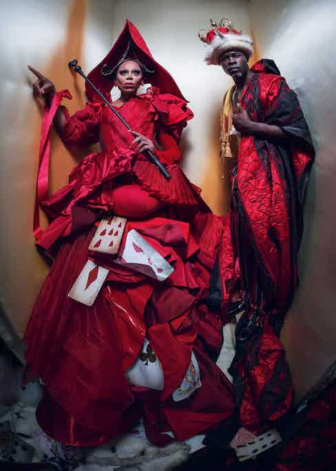 RuPaul as The Queen of Hearts and Djimon Hounsou as The King of Hearts. Photograph by Tim Walker.
