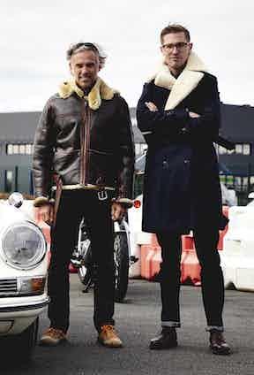 Jean-Paul Belmondo's son, Paul Belmondo (left), wears a leather and shearling Chapal jacket.