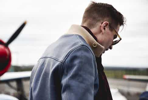 The navy A1 leather jacket by Chapal.