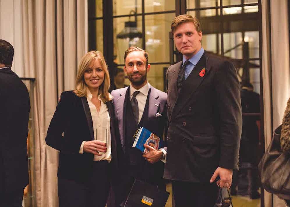 Jemma Freeman with Darius Namdar (Marks Club) and Tom Chamberlin (Editor of The Rake).