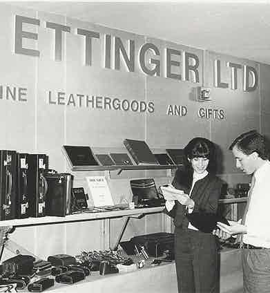 Ettinger's stand at a trade show, circa 1970.