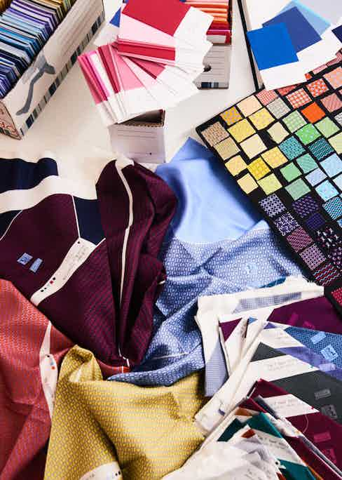 Colour and fabric swatches are archived and continuously developed. Photograph by Kim Lang.