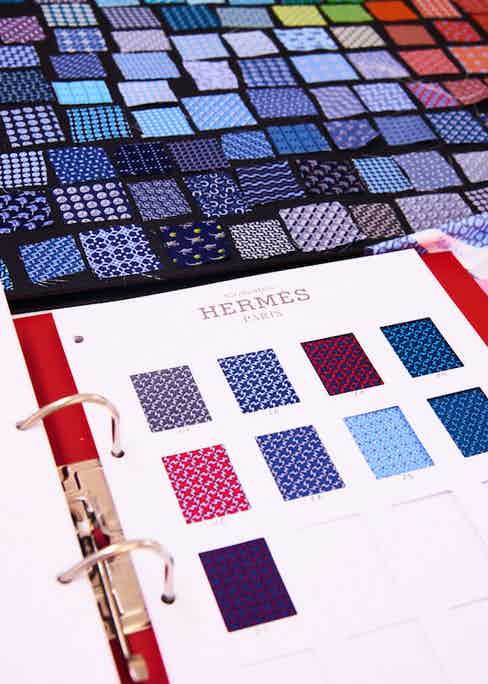 Colour variations on one Hermès design. Photograph by Kim Lang.