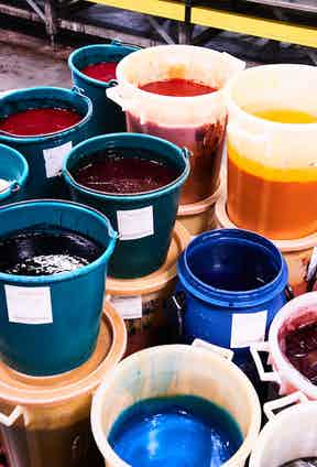Hermès' vibrant pigment inks. Photograph by Kim Lang.