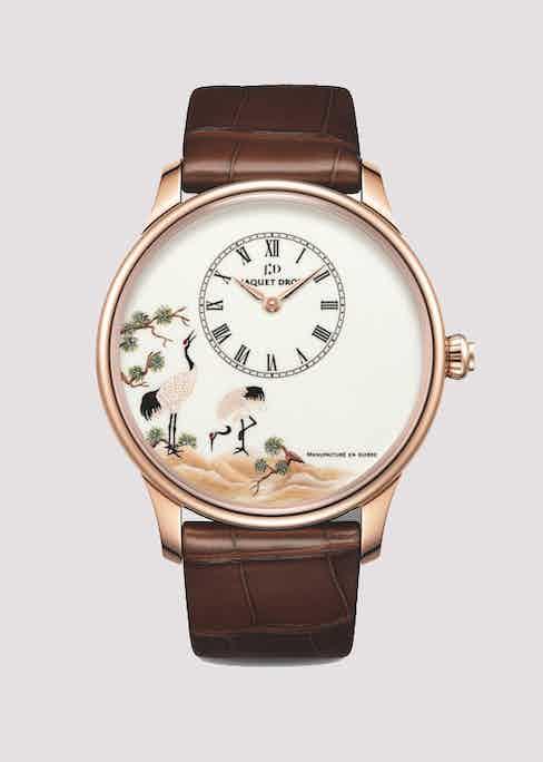 Jaquet Droz Petite Heure Minute White Crane 22-carat white gold wristwatch.