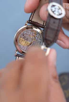 The sapphire crystal caseback on the Patek Philippe Perpetual Calendar ref. 5139G.
