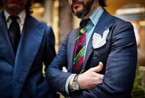 Sciamat's distinctive shoulder on the single-breasted hopsack blazer.