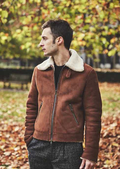 Cromford's brown 'Keitel' shearling jacket features a simple shirt-collar and zip, so as not to distract from the beautiful clean-cut suede body. Photo by James Munro.