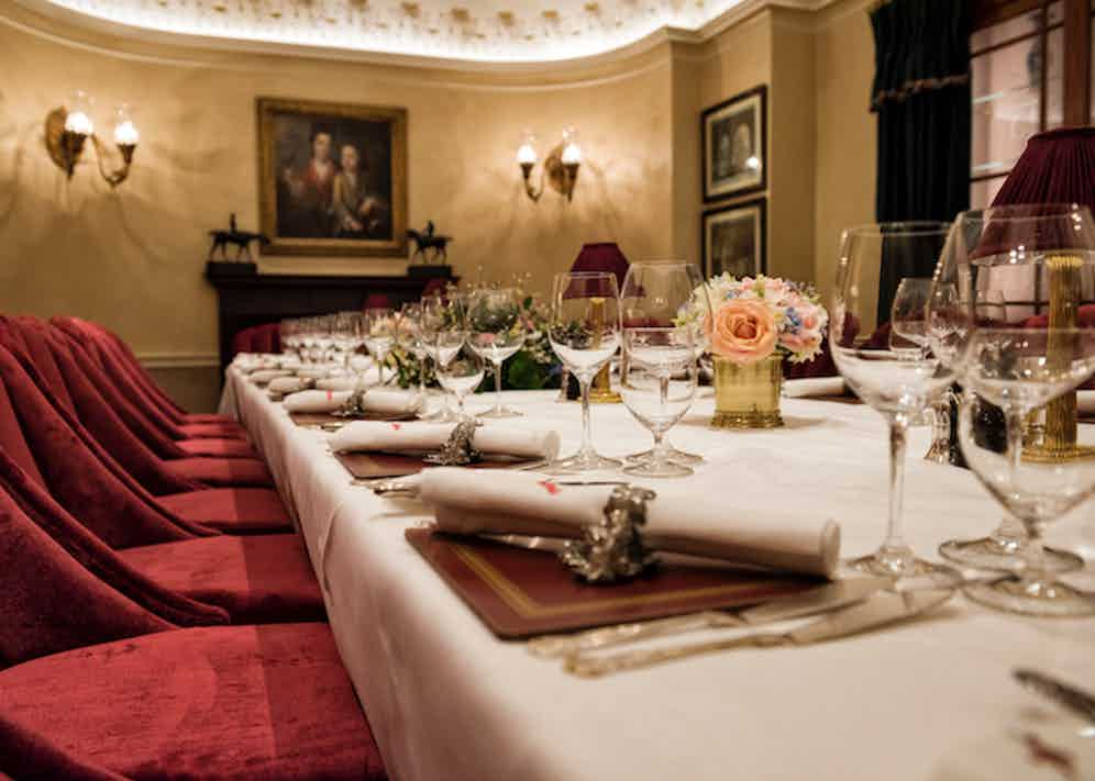 The restaurant also boasts an elegant private room with gentle lighting and plush pink velvet chairs.
