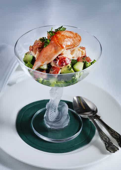 A mouthwatering Scottish Lobster Cocktail served in an ornate glass.