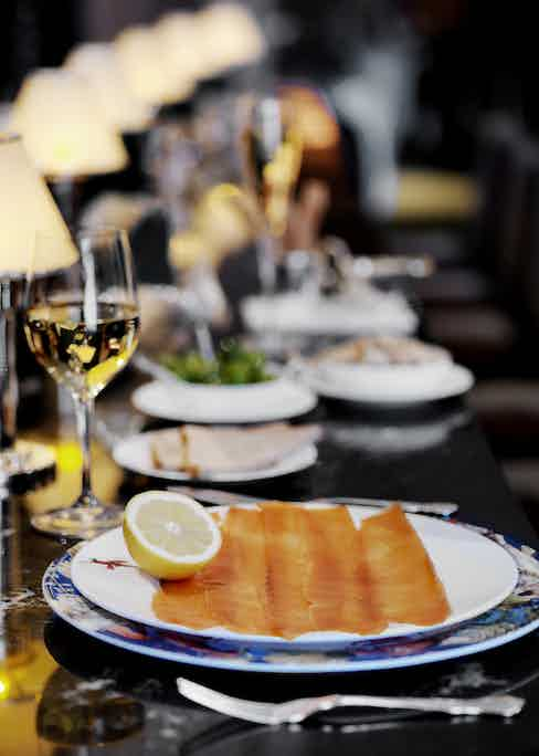 Scottish smoked salmon, so exquisite it need only be served with a simple slice of fresh lemon.
