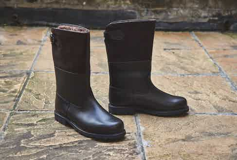The Dark brown Maronibrater leather boots. Photograph by James Munro.