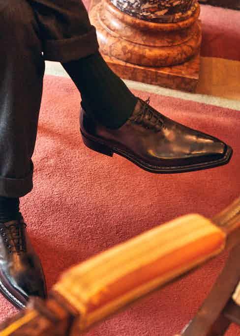 Paolo Scafora's black square toe Oxfords. Photograph by James Munro.