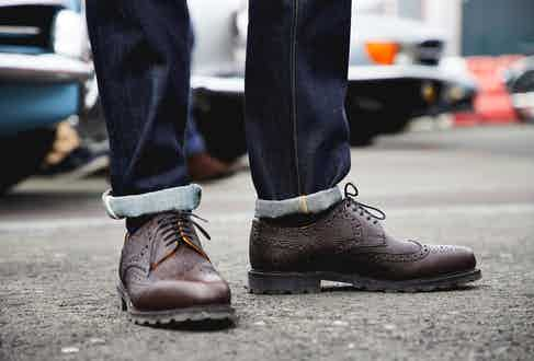Ludwig Reiter's dark brown Budapester scotch grain leather Derbys. Photograph by James Munro.
