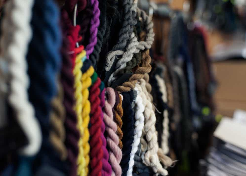 Different types of fibres in Piacenza Cashmere's workshop.