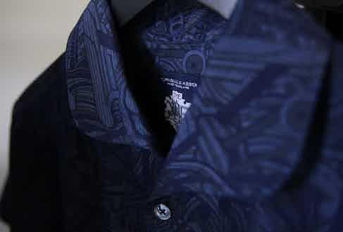 Turnbull & Asser x Mo Coppoletta's collaboration, the tattoo-inspired short sleeved shirt.