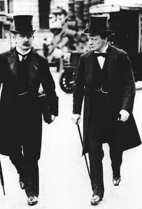 Strolling with David Lloyd George, Chancellor of the Exchequer in 1910.