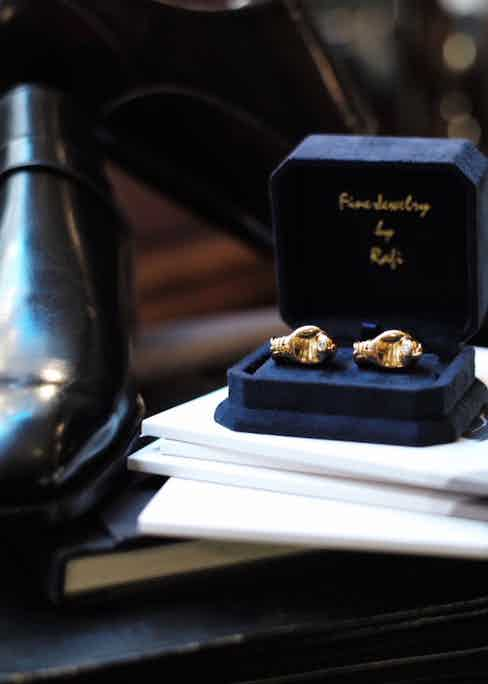 These solid gold cufflinks were a gift from Glasgow's client, Sylvester Stallone.