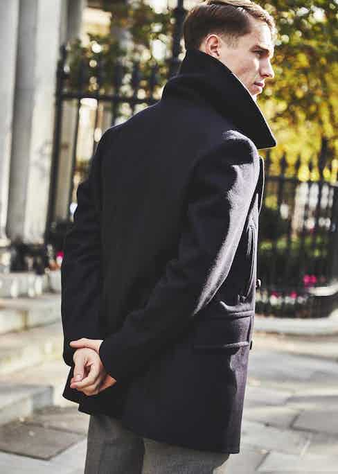 The 'Manchester' pea coat is named after the city in which Private White V.C. manufactures all its clothing.