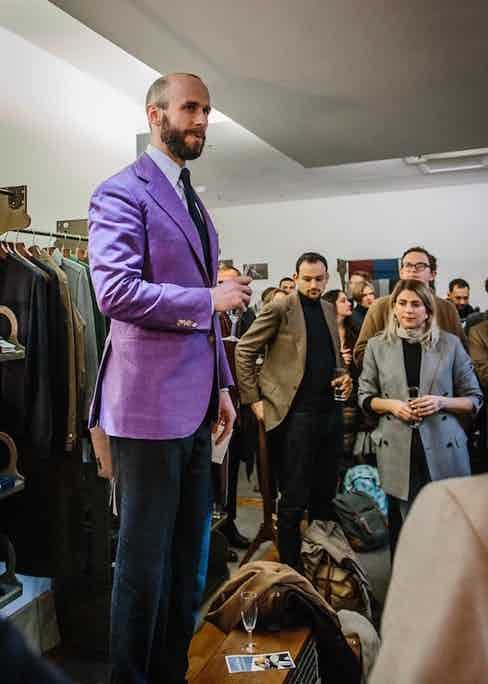 Simon Crompton welcomes guests at Permanent Style presents earlier this year.