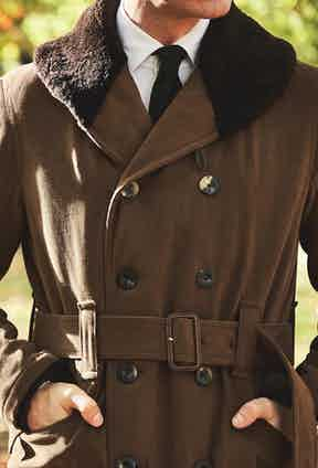 Private White V.C.'s Jeep Coat is made with brushed cotton twill and features a shearling collar for extra warmth. Photograph by James Munro.