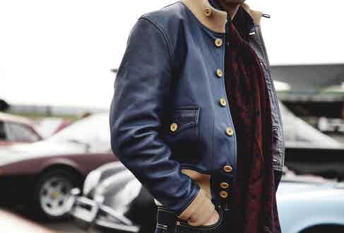 Chapal's navy A1 leather jacket clearly shows inspiration from the jacket's military heritage, even using a button fastening rather than zip to maintain authenticity. Photograph by James Munro.