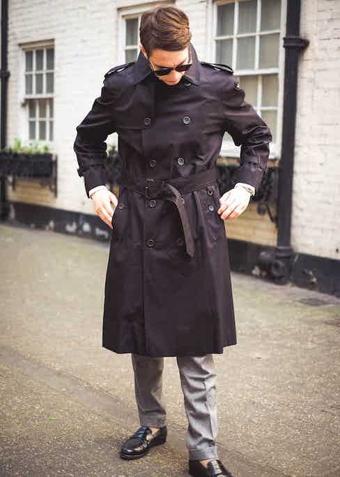 With shoulder epaulets and a belted waist, the Windsor jacket by Grenfell is the perfect outerwear piece to complement tailoring. Photograph by James Munro.