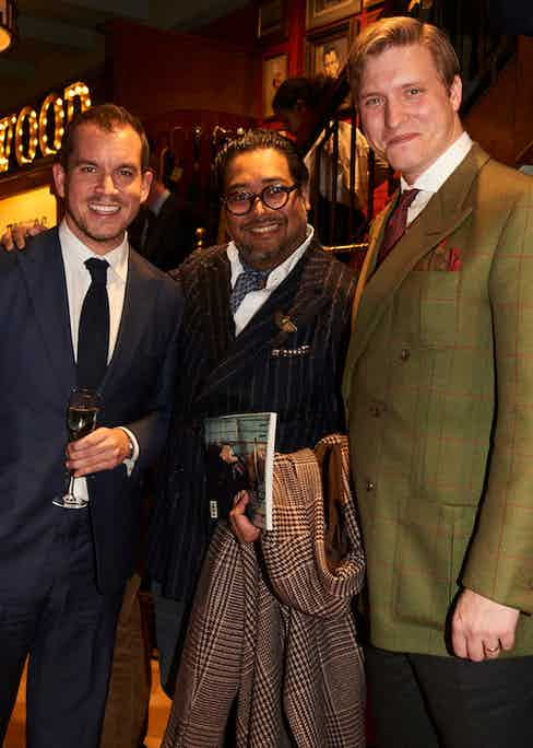 George Cleverley's George Glasgow, Friend of The Rake Ahmed Rahman and Editor of The Rake Tom Chamberlin.