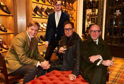 The Rake's Editor Tom Chamberlin, Nick Foulkes and Tristram Fetherstonhaugh with his son Ted.