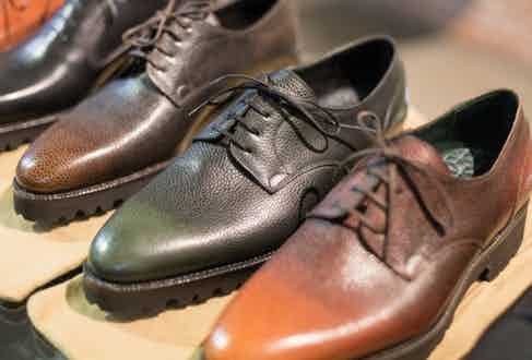 Norman Vilalta's green pebble grain shoes pair well under selvedge denim or grey pleated trousers.