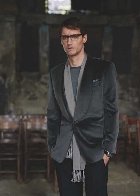 An alternative way to wear velvet, complete with Merino knit and a tonal grey scarf. Photograph by Ben Harries.